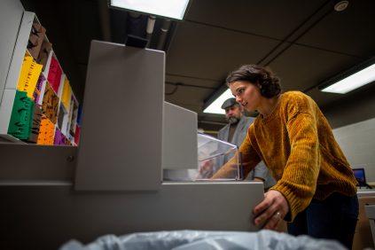 Student in book arts studio