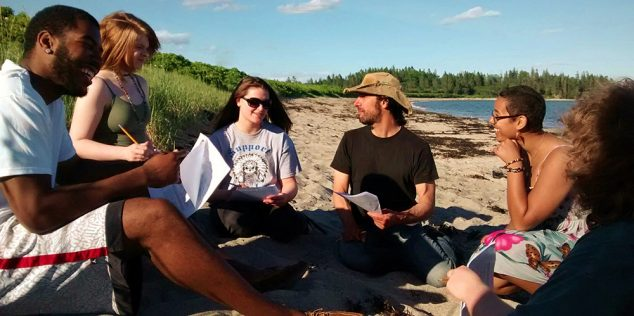 Writing workshop on the beach