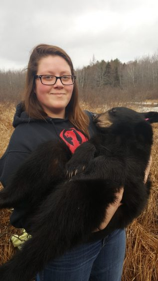 Student holding tagged bear cub
