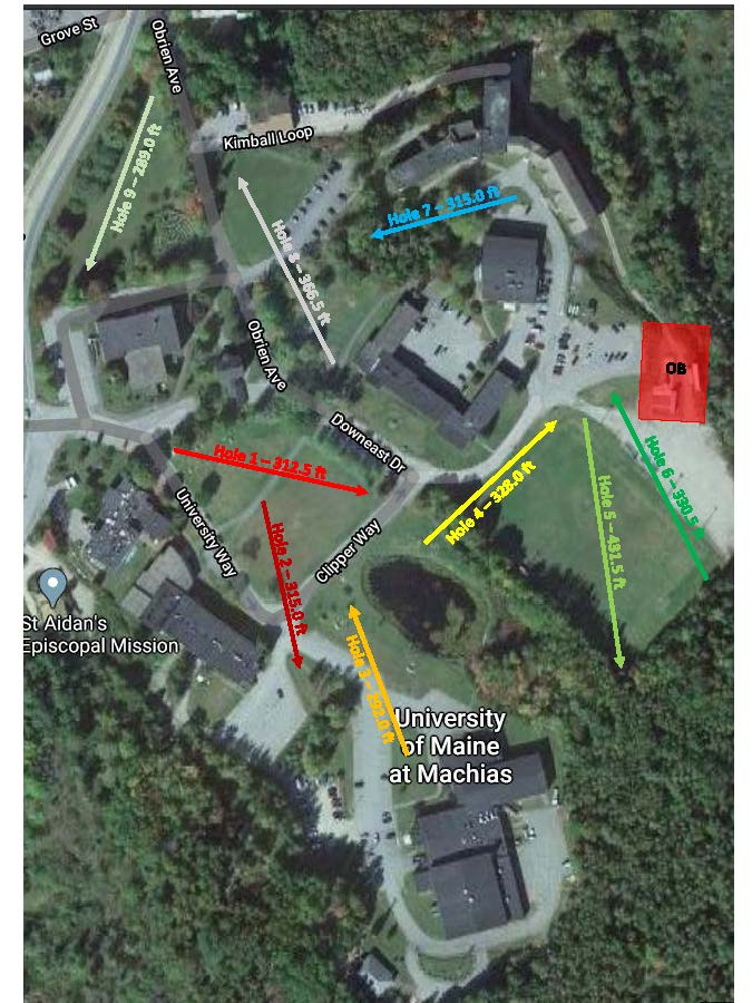 Photo showing a map of the disc golf course