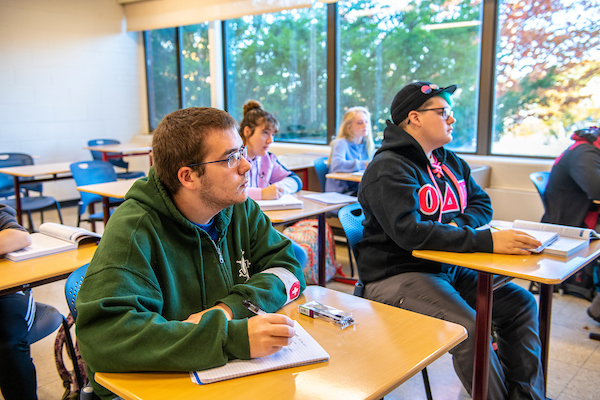 Students in a classroom at the University of Maine at Machias