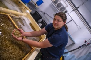 Student holding baby clams at Downeast Institute