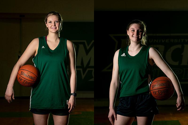 Player posing with basketballs