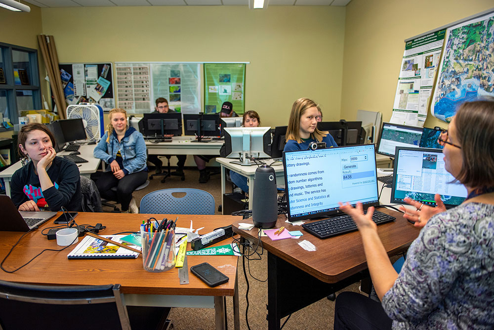 Students in UMM's geographic information science laboratory