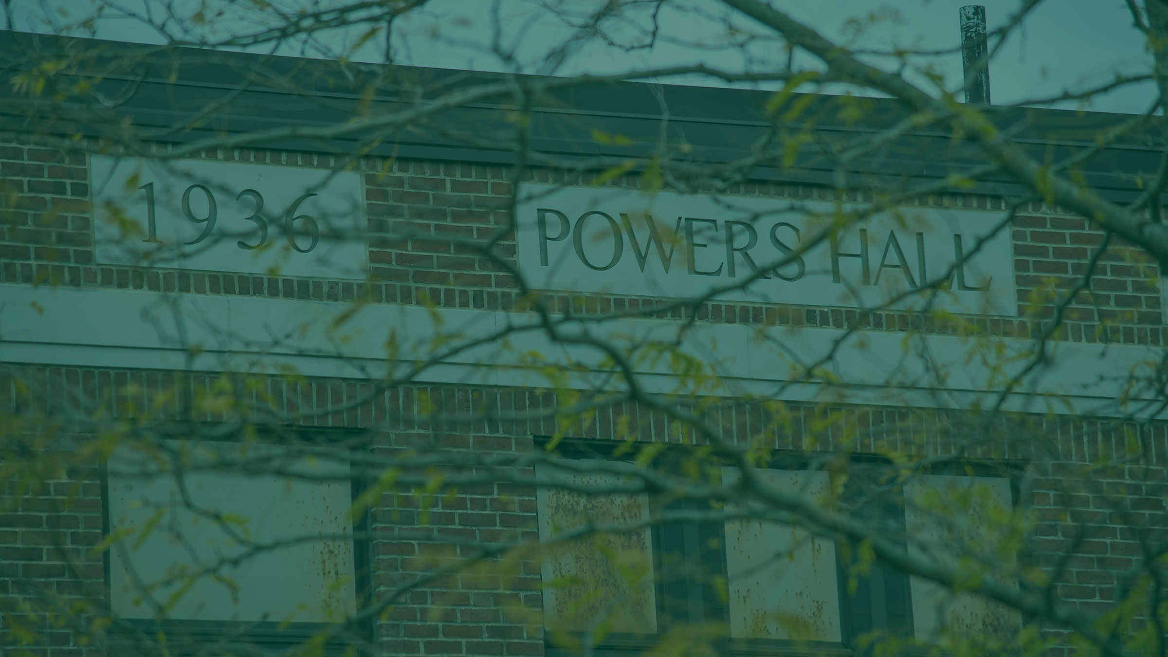 Words engraved in side of a building: 1936 Powers Hall