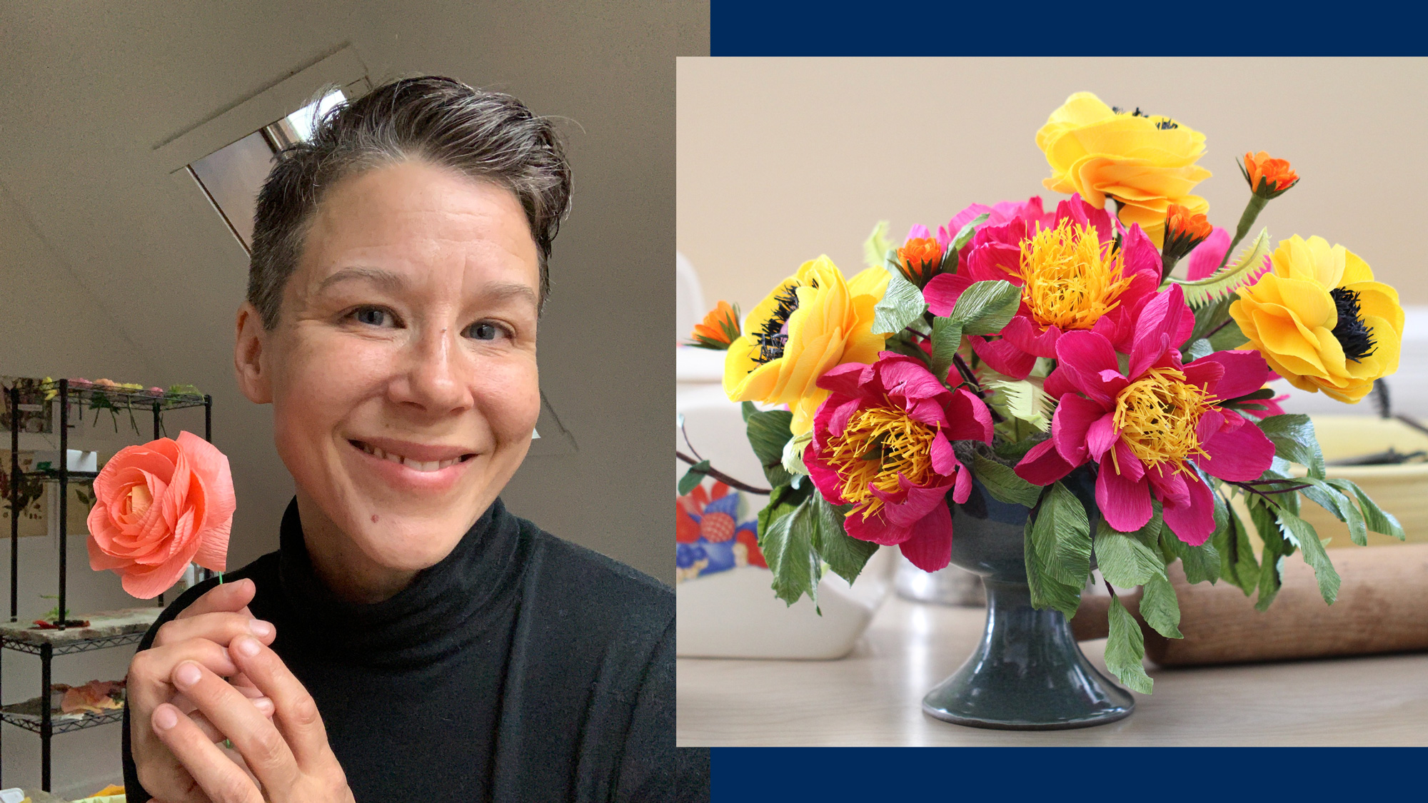A photo of a woman holding a paper flower, next to a photo of a paper flower bouquet