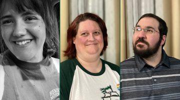 Three photos of student faces: Lexi Daggett, Teresa Gallanti and Dan Gallanti