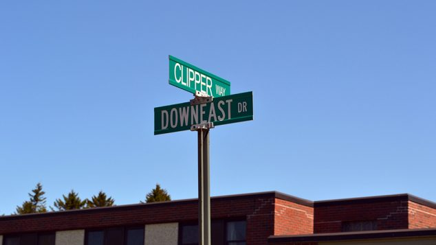 Clipper Way and Downeast Drive street signs