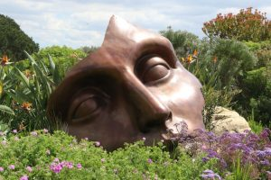 partial face sculpture in a field of wildflowers