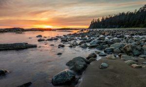 Rocky coastline at sunrise