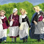 painting of colonial women walking and talking