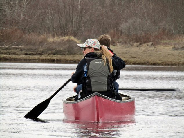 Recreation and Tourism Management students canoeing in Maine