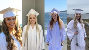 Four female students shown in their white graduation gowns