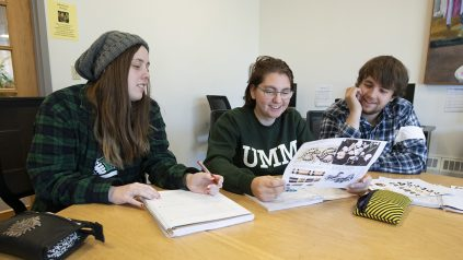 Students studying at Machias